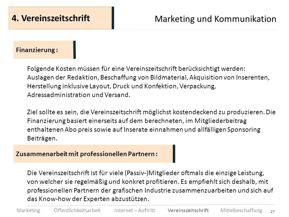 Marketing und Kommunikation 27 Folgende Kosten müssen für eine Vereinszeitschrift berücksichtigt werden: Auslagen der Redaktion, Beschaffung von Bildm