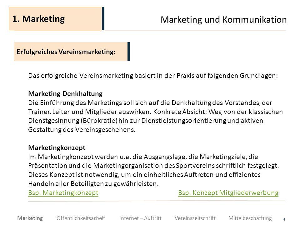 Marketing und Kommunikation 4 Das erfolgreiche Vereinsmarketing basiert in der Praxis auf folgenden Grundlagen: Marketing-Denkhaltung Die Einführung d