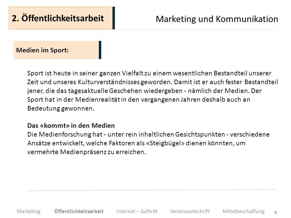 Marketing und Kommunikation 30 Je besser sich ein Sportverein bei den Mitgliedern, bei Sponsoren und in der Öffentlichkeit präsentiert und mit guten Leistungen überzeugt, desto mehr steigen seine Chancen im Bereich der Mittelbeschaffung.