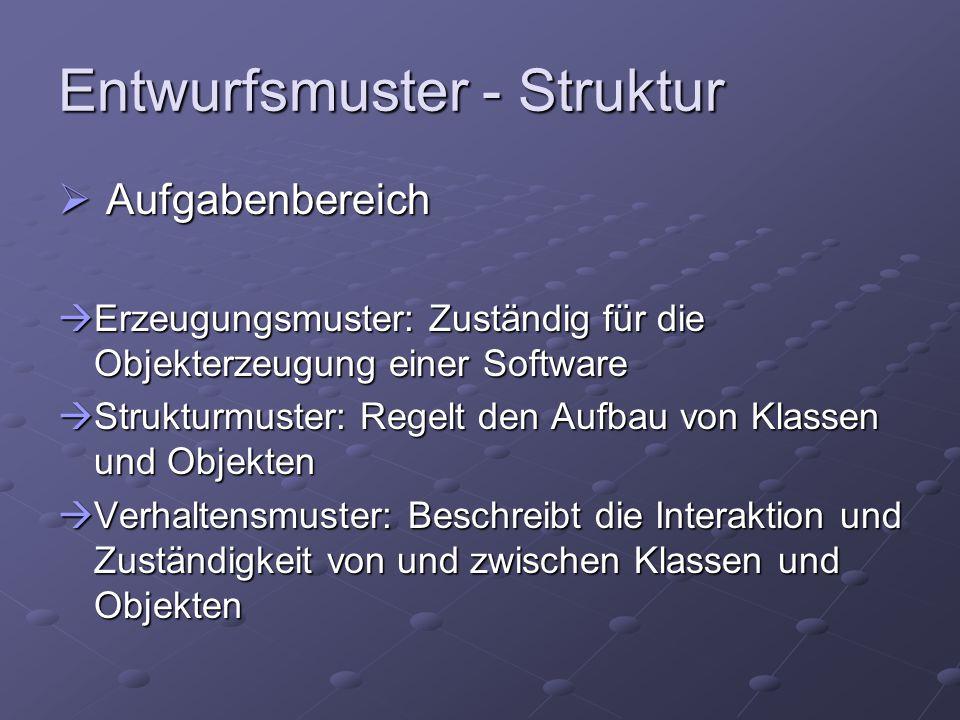 Entwurfsmuster - Struktur  Aufgabenbereich  Erzeugungsmuster: Zuständig für die Objekterzeugung einer Software  Strukturmuster: Regelt den Aufbau v