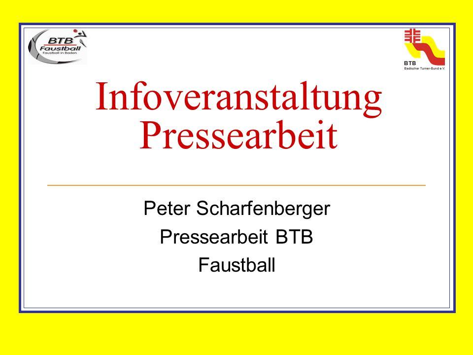Infoveranstaltung Pressearbeit Peter Scharfenberger Pressearbeit BTB Faustball