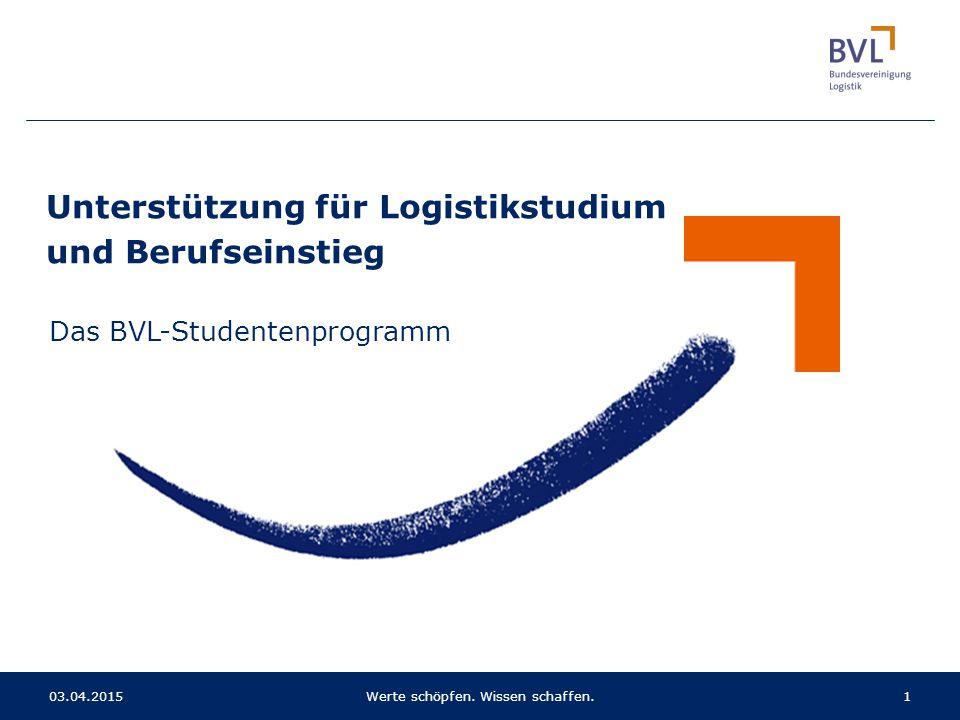 103.04.2015Werte schöpfen. Wissen schaffen. Unterstützung für Logistikstudium und Berufseinstieg Das BVL-Studentenprogramm