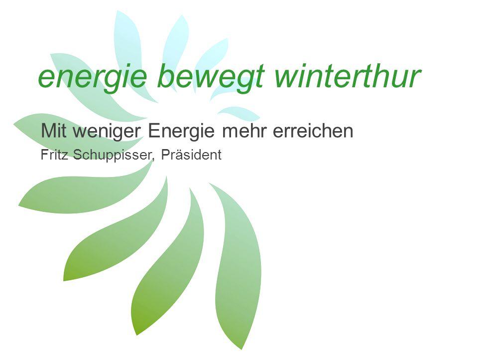 Swiss Green Economy Symposium, 13.11.2014; energie bewegt winterthur Regionale Kraft energie bewegt winterthur ist ein Zusammenschluss von Wirtschaft, Wissenschaft, der öffentlichen Hand sowie von engagierten Einzelpersonen und setzt sich dafür ein, dass auch mit weniger Energie viel erreicht werden kann.