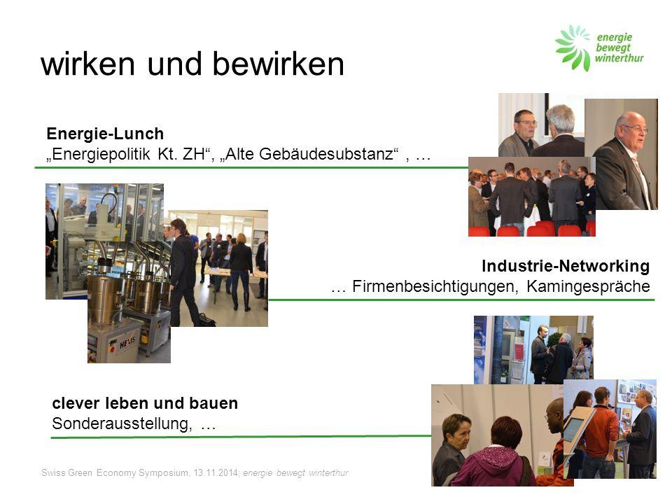 """Swiss Green Economy Symposium, 13.11.2014; energie bewegt winterthur wirken und bewirken Energie-Lunch """"Energiepolitik Kt."""