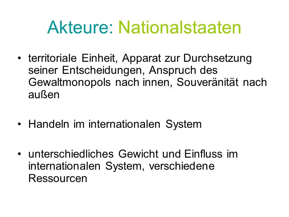 Akteure: Nationalstaaten territoriale Einheit, Apparat zur Durchsetzung seiner Entscheidungen, Anspruch des Gewaltmonopols nach innen, Souveränität na