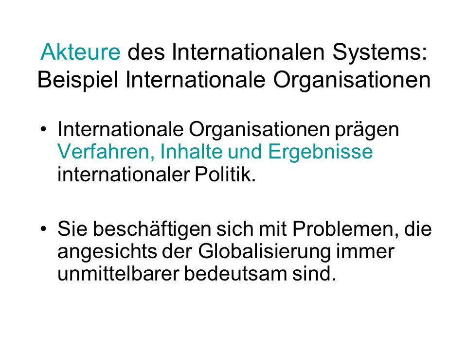 Akteure des Internationalen Systems: Beispiel Internationale Organisationen Internationale Organisationen prägen Verfahren, Inhalte und Ergebnisse int