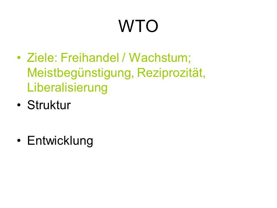 WTO Ziele: Freihandel / Wachstum; Meistbegünstigung, Reziprozität, Liberalisierung Struktur Entwicklung