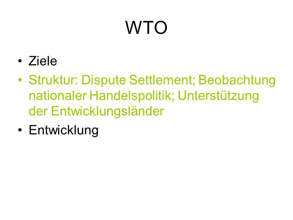 WTO Ziele Struktur: Dispute Settlement; Beobachtung nationaler Handelspolitik; Unterstützung der Entwicklungsländer Entwicklung