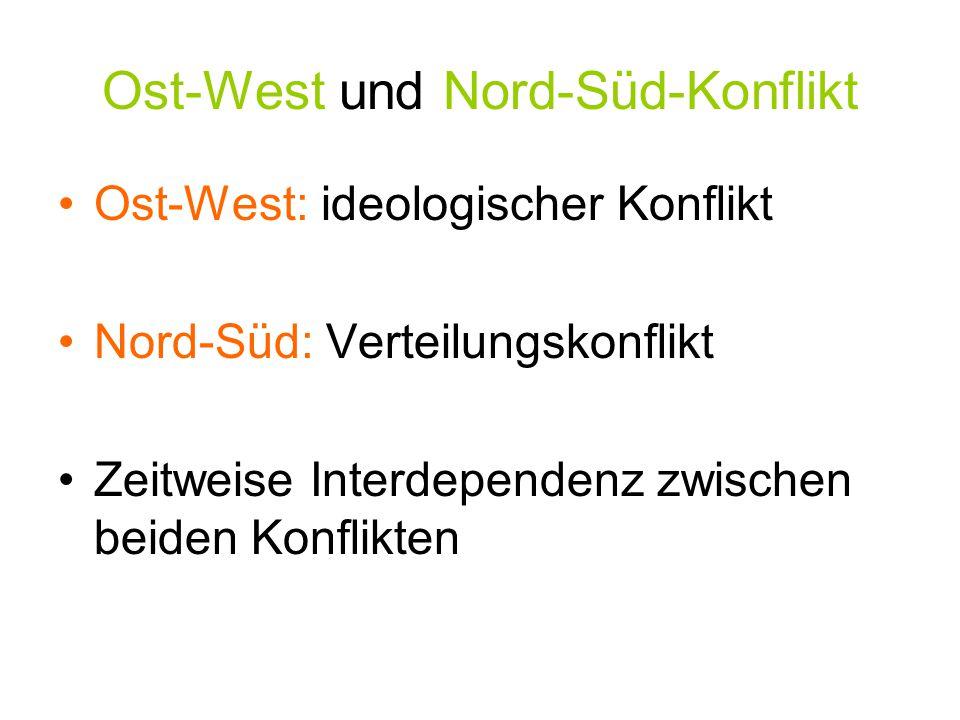 Ost-West und Nord-Süd-Konflikt Ost-West: ideologischer Konflikt Nord-Süd: Verteilungskonflikt Zeitweise Interdependenz zwischen beiden Konflikten