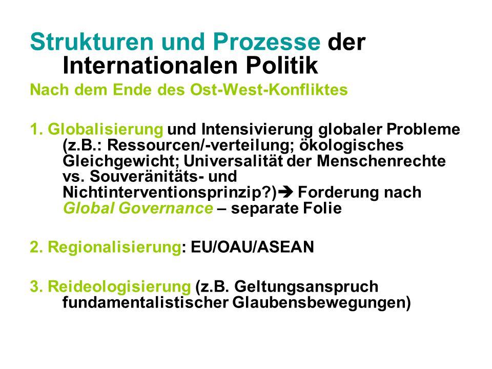 Strukturen und Prozesse der Internationalen Politik Nach dem Ende des Ost-West-Konfliktes 1. Globalisierung und Intensivierung globaler Probleme (z.B.