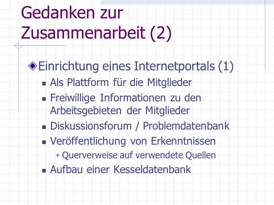 Gedanken zur Zusammenarbeit (2) Einrichtung eines Internetportals (1) Als Plattform für die Mitglieder Freiwillige Informationen zu den Arbeitsgebiete