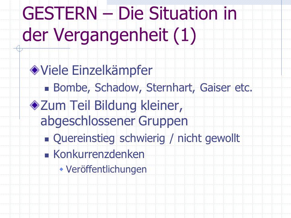 GESTERN – Die Situation in der Vergangenheit (1) Viele Einzelkämpfer Bombe, Schadow, Sternhart, Gaiser etc. Zum Teil Bildung kleiner, abgeschlossener