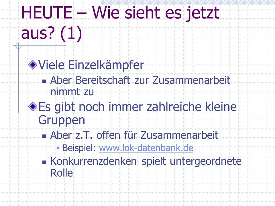 HEUTE – Wie sieht es jetzt aus? (1) Viele Einzelkämpfer Aber Bereitschaft zur Zusammenarbeit nimmt zu Es gibt noch immer zahlreiche kleine Gruppen Abe