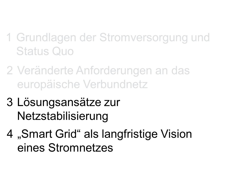 """1 Grundlagen der Stromversorgung und Status Quo 2 Veränderte Anforderungen an das europäische Verbundnetz 3 Lösungsansätze zur Netzstabilisierung 4 """"Smart Grid als langfristige Vision eines Stromnetzes"""