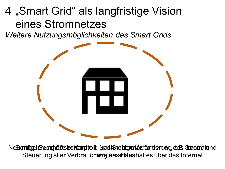 """4 """"Smart Grid als langfristige Vision eines Stromnetzes Weitere Nutzungsmöglichkeiten des Smart Grids Ermöglichung neuer Kontroll- und Steuermechanismen, z.B."""