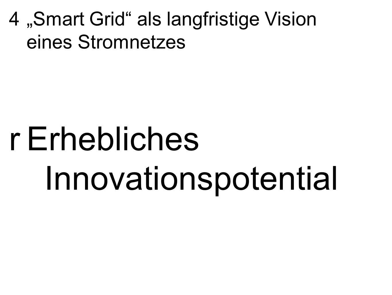 """4 """"Smart Grid"""" als langfristige Vision eines Stromnetzes rErhebliches Innovationspotential"""