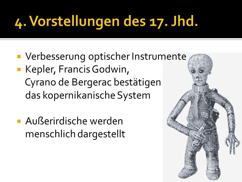  Verbesserung optischer Instrumente  Kepler, Francis Godwin, Cyrano de Bergerac bestätigen das kopernikanische System  Außerirdische werden menschl