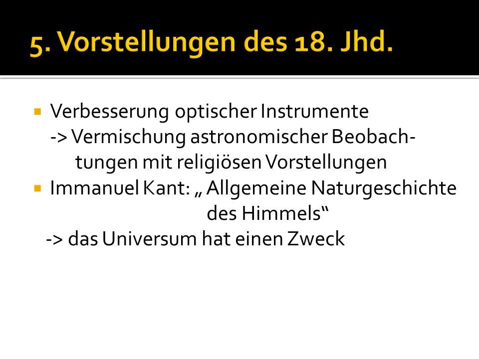 """ Verbesserung optischer Instrumente -> Vermischung astronomischer Beobach- tungen mit religiösen Vorstellungen  Immanuel Kant: """" Allgemeine Naturges"""