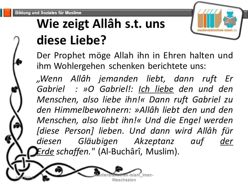 Bildung und Soziales für Muslime Wie zeigt Allâh s.t. uns diese Liebe? Der Prophet möge Allah ihn in Ehren halten und ihm Wohlergehen schenken bericht