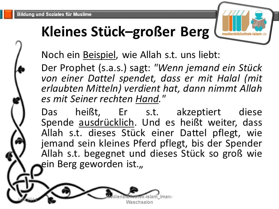 Bildung und Soziales für Muslime Kleines Stück–großer Berg Noch ein Beispiel, wie Allah s.t. uns liebt: Der Prophet (s.a.s.) sagt: