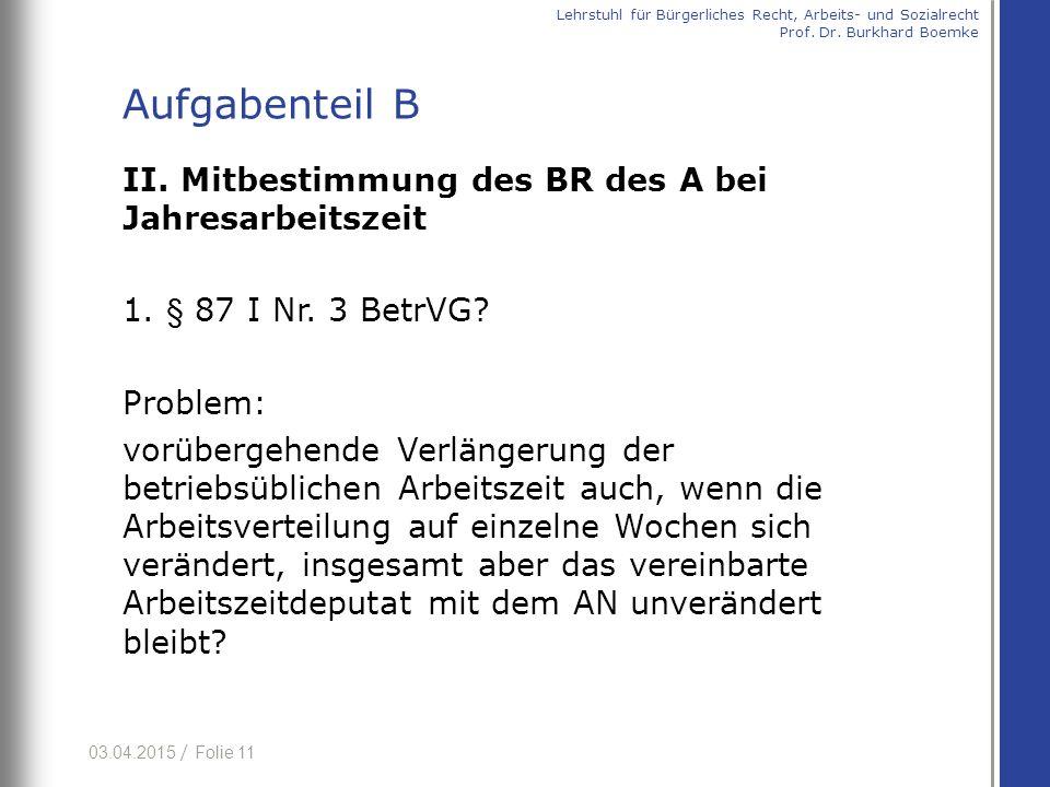 03.04.2015 / Folie 11 II.Mitbestimmung des BR des A bei Jahresarbeitszeit 1.