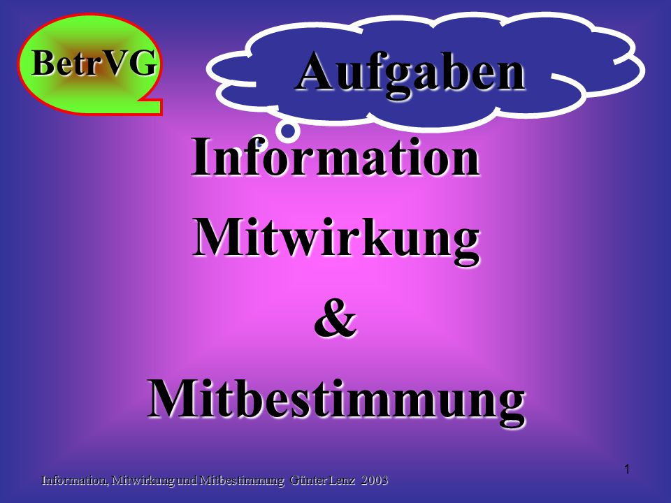 Information, Mitwirkung und Mitbestimmung Günter Lenz 2003 1 Aufgaben InformationMitwirkung&Mitbestimmung BetrVG