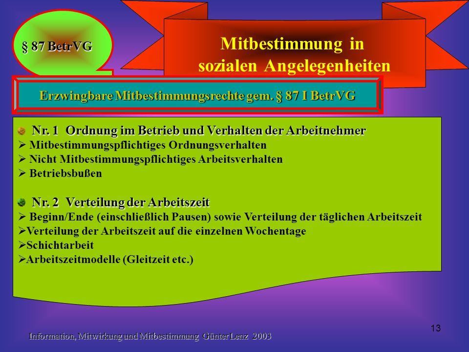 Information, Mitwirkung und Mitbestimmung Günter Lenz 2003 13 Mitbestimmung in sozialen Angelegenheiten § 87 BetrVG Erzwingbare Mitbestimmungsrechte gem.
