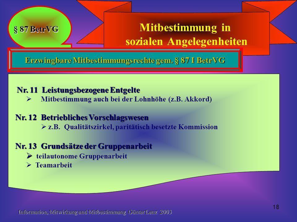 Information, Mitwirkung und Mitbestimmung Günter Lenz 2003 18 Mitbestimmung in sozialen Angelegenheiten § 87 BetrVG Erzwingbare Mitbestimmungsrechte g