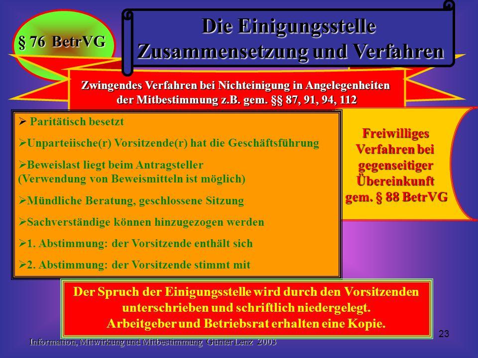 Information, Mitwirkung und Mitbestimmung Günter Lenz 2003 23 Zwingendes Verfahren bei Nichteinigung in Angelegenheiten der Mitbestimmung z.B. gem. §§