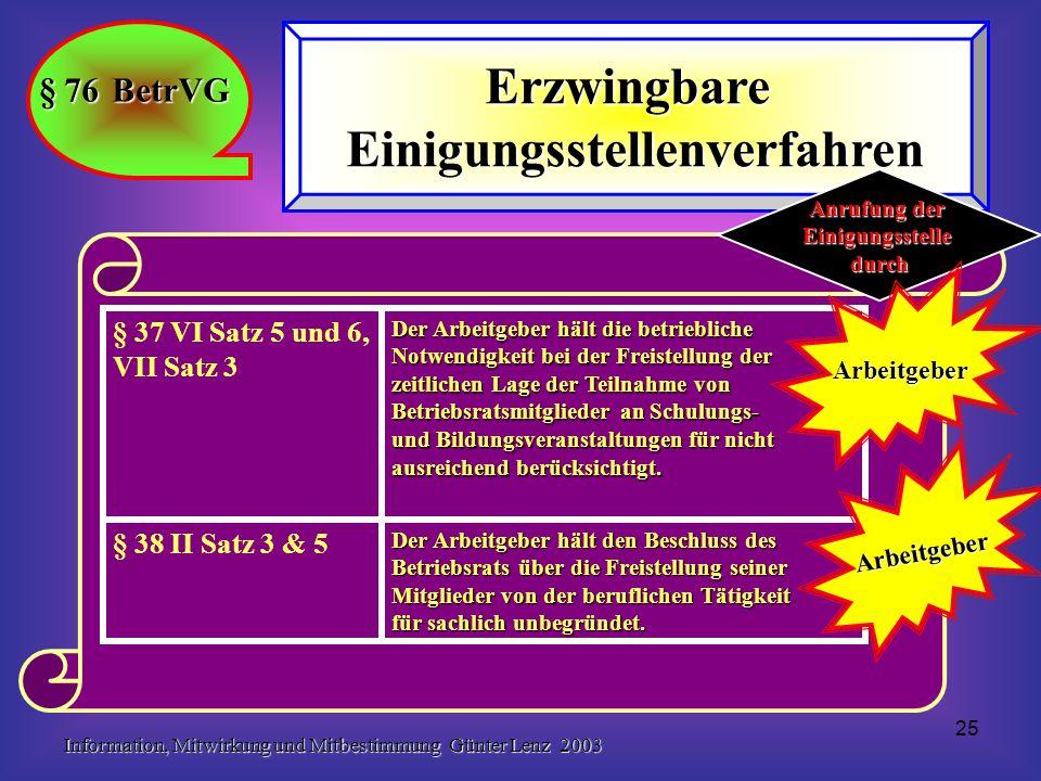 Information, Mitwirkung und Mitbestimmung Günter Lenz 2003 25 § 76 BetrVG ErzwingbareEinigungsstellenverfahren Der Arbeitgeber hält den Beschluss des Betriebsrats über die Freistellung seiner Mitglieder von der beruflichen Tätigkeit für sachlich unbegründet.