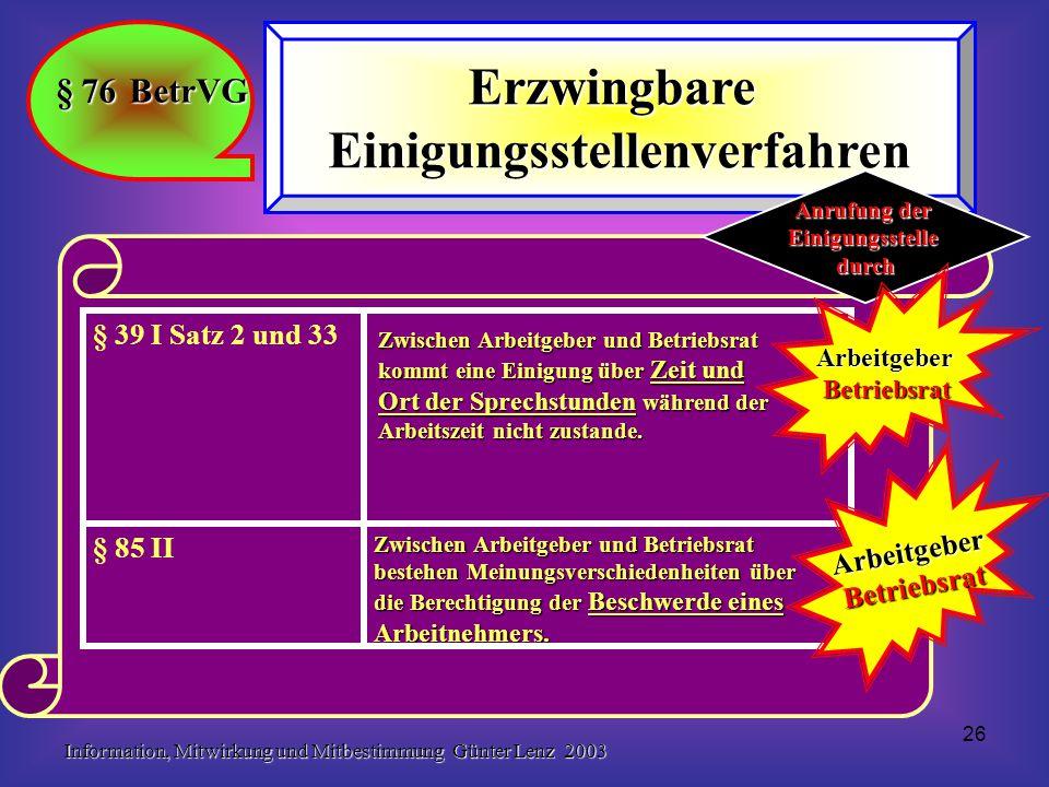 Information, Mitwirkung und Mitbestimmung Günter Lenz 2003 26 § 76 BetrVG ErzwingbareEinigungsstellenverfahren Zwischen Arbeitgeber und Betriebsrat be