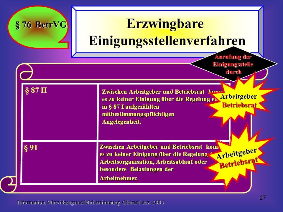 Information, Mitwirkung und Mitbestimmung Günter Lenz 2003 27 § 76 BetrVG ErzwingbareEinigungsstellenverfahren Zwischen Arbeitgeber und Betriebsrat kommt es zu keiner Einigung über die Regelung der Arbeitsorganisation, Arbeitsablauf oder besondere Belastungen der Arbeitnehmer.