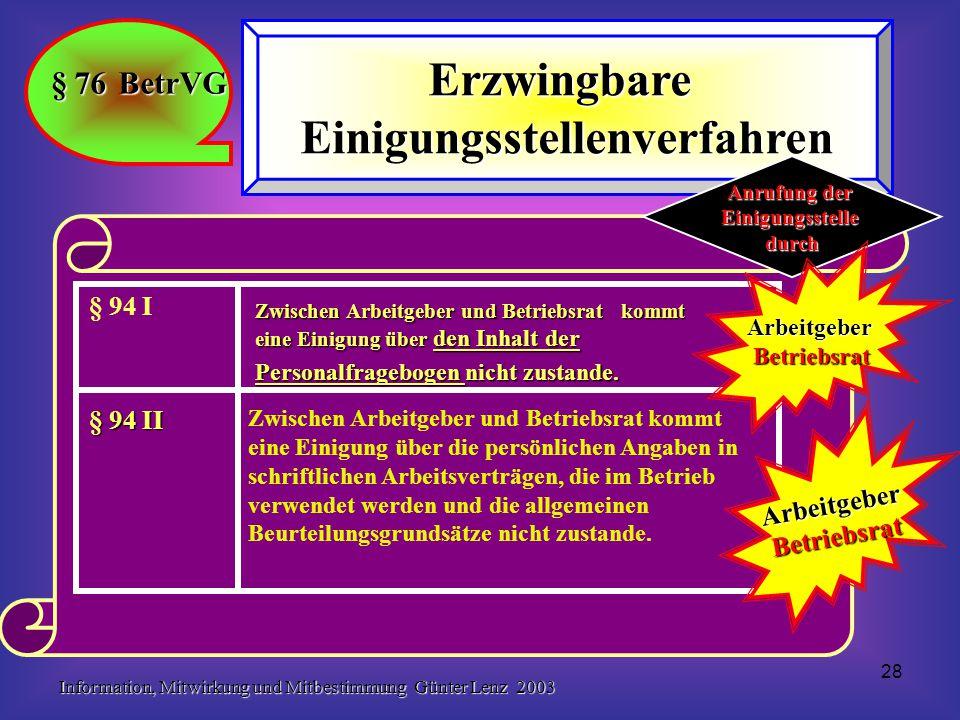 Information, Mitwirkung und Mitbestimmung Günter Lenz 2003 28 § 76 BetrVG ErzwingbareEinigungsstellenverfahren Zwischen Arbeitgeber und Betriebsrat ko