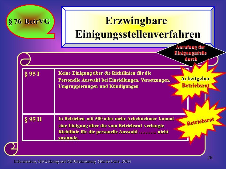 Information, Mitwirkung und Mitbestimmung Günter Lenz 2003 29 § 76 BetrVG ErzwingbareEinigungsstellenverfahren In Betrieben mit 500 oder mehr Arbeitnehmer kommt eine Einigung über die vom Betriebsrat verlangte Richtlinie für die personelle Auswahl ………..
