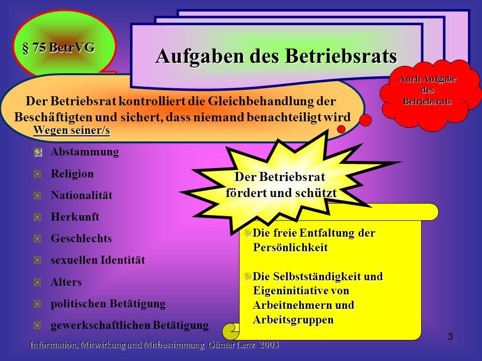 Information, Mitwirkung und Mitbestimmung Günter Lenz 2003 3 Die freie Entfaltung der Persönlichkeit Persönlichkeit Die Selbstständigkeit und Eigenini