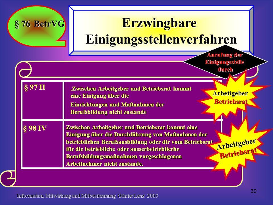 Information, Mitwirkung und Mitbestimmung Günter Lenz 2003 30 § 76 BetrVG ErzwingbareEinigungsstellenverfahren Zwischen Arbeitgeber und Betriebsrat ko