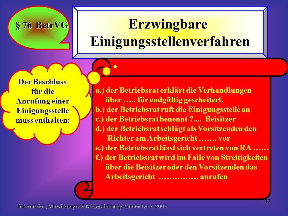 Information, Mitwirkung und Mitbestimmung Günter Lenz 2003 32 § 76 BetrVG ErzwingbareEinigungsstellenverfahren a.) der Betriebsrat erklärt die Verhand