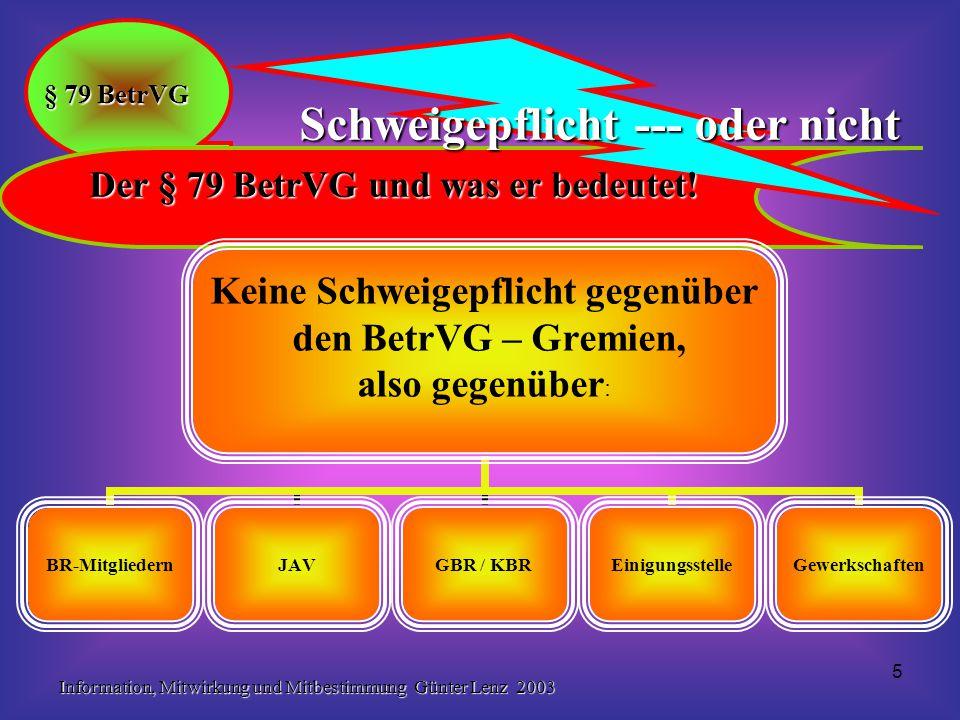 Information, Mitwirkung und Mitbestimmung Günter Lenz 2003 16 Mitbestimmung in sozialen Angelegenheiten § 87 BetrVG Erzwingbare Mitbestimmungsrechte gem.