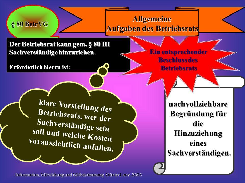Information, Mitwirkung und Mitbestimmung Günter Lenz 2003 20 Kommt eine Einigung nach § 87 I BetrVG nicht zustande, entscheidet die Einigungsstelle Einigungsstelle Mitbestimmung in sozialen Angelegenheiten § 87 BetrVG Verfahren gem.