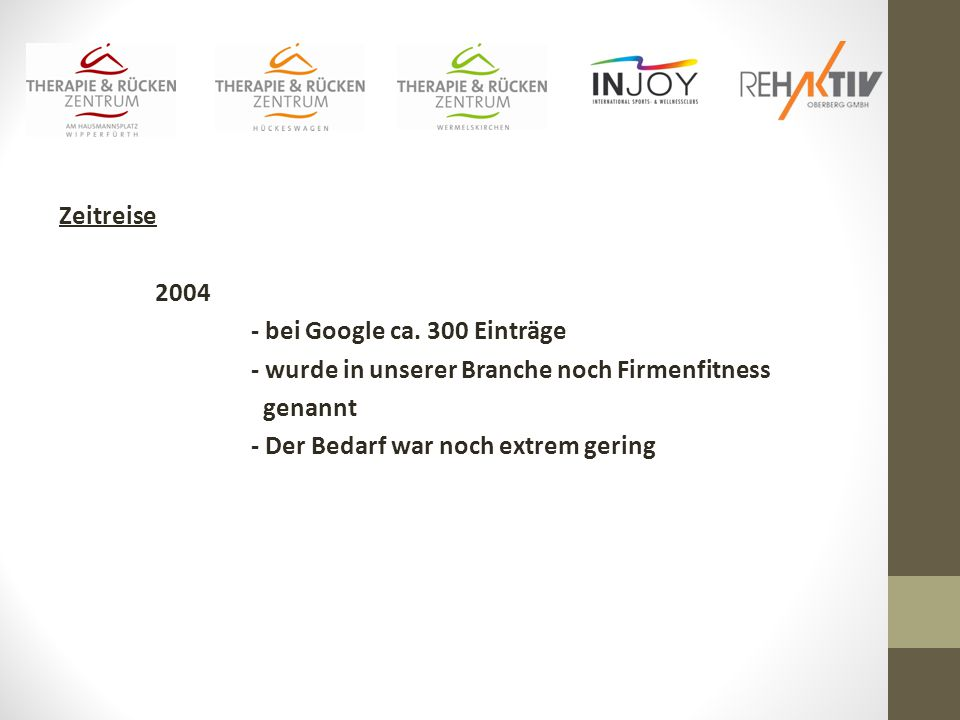 Zeitreise 2004 - bei Google ca.