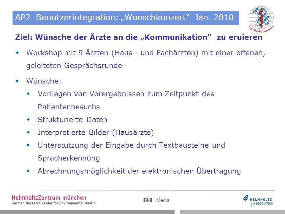 """IBMI - Medis AP2 Benutzerintegration: """"Wunschkonzert"""" Jan. 2010 Ziel: Wünsche der Ärzte an die """"Kommunikation"""" zu eruieren  Workshop mit 9 Ärzten (Ha"""
