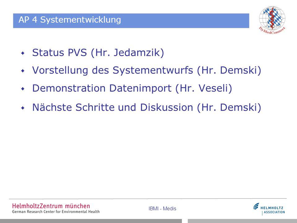 AP 4 Systementwicklung  Status PVS (Hr. Jedamzik)  Vorstellung des Systementwurfs (Hr. Demski)  Demonstration Datenimport (Hr. Veseli)  Nächste Sc