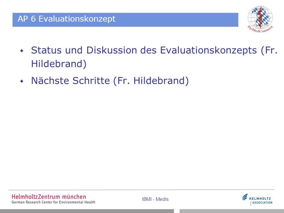 IBMI - Medis AP 6 Evaluationskonzept  Status und Diskussion des Evaluationskonzepts (Fr. Hildebrand)  Nächste Schritte (Fr. Hildebrand)