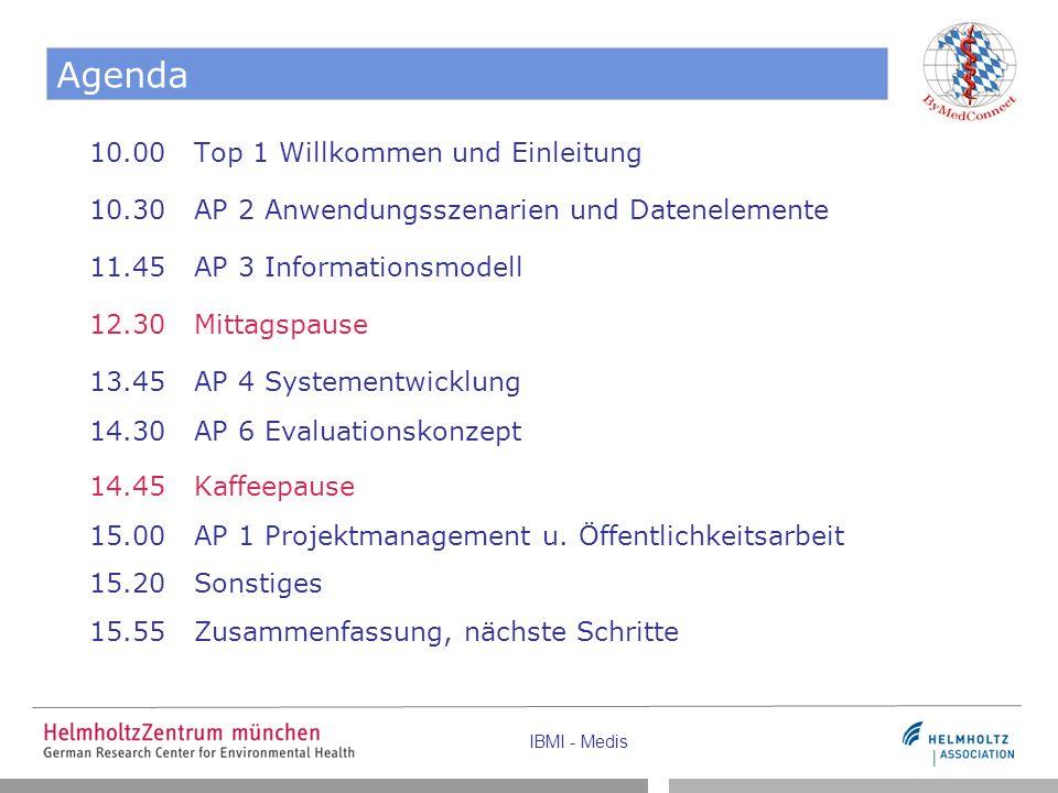 IBMI - Medis Agenda 10.00 Top 1 Willkommen und Einleitung 10.30 AP 2 Anwendungsszenarien und Datenelemente 11.45 AP 3 Informationsmodell 12.30 Mittags