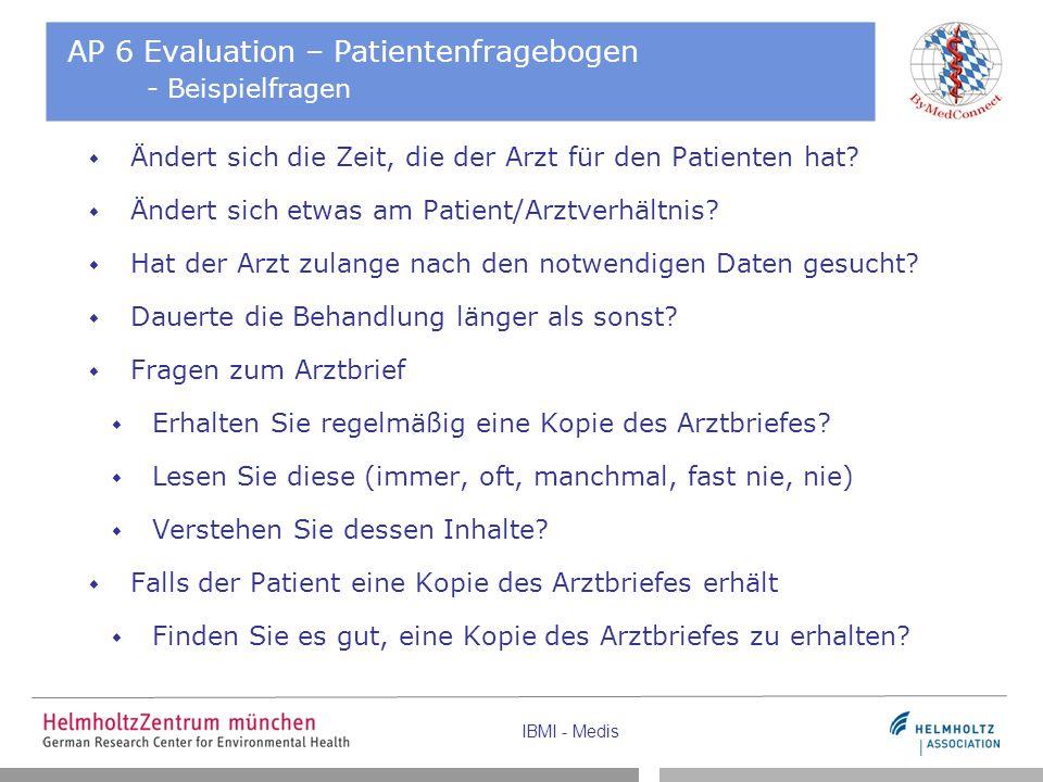 IBMI - Medis AP 6 Evaluation – Patientenfragebogen - Beispielfragen  Ändert sich die Zeit, die der Arzt für den Patienten hat?  Ändert sich etwas am