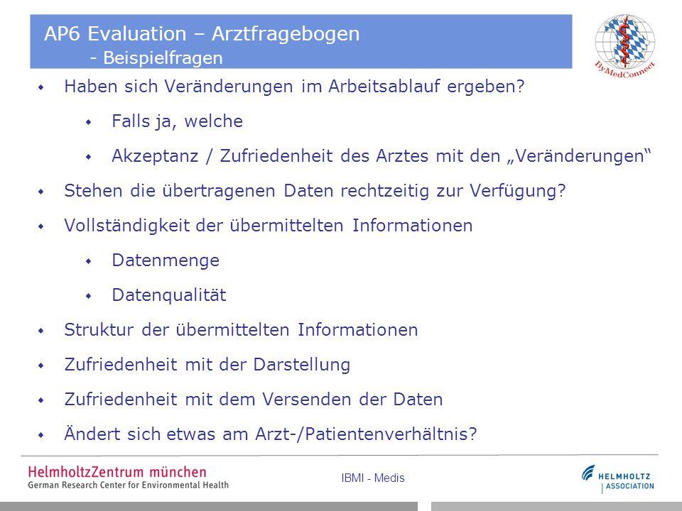 IBMI - Medis AP6 Evaluation – Arztfragebogen - Beispielfragen  Haben sich Veränderungen im Arbeitsablauf ergeben?  Falls ja, welche  Akzeptanz / Zu