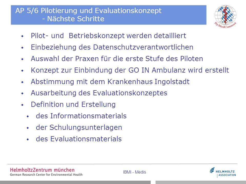 IBMI - Medis AP 5/6 Pilotierung und Evaluationskonzept - Nächste Schritte  Pilot- und Betriebskonzept werden detailliert  Einbeziehung des Datenschu