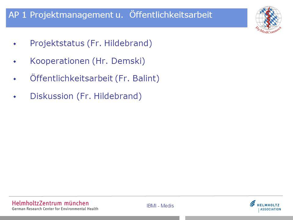 IBMI - Medis AP 1 Projektmanagement u. Öffentlichkeitsarbeit  Projektstatus (Fr. Hildebrand)  Kooperationen (Hr. Demski)  Öffentlichkeitsarbeit (Fr