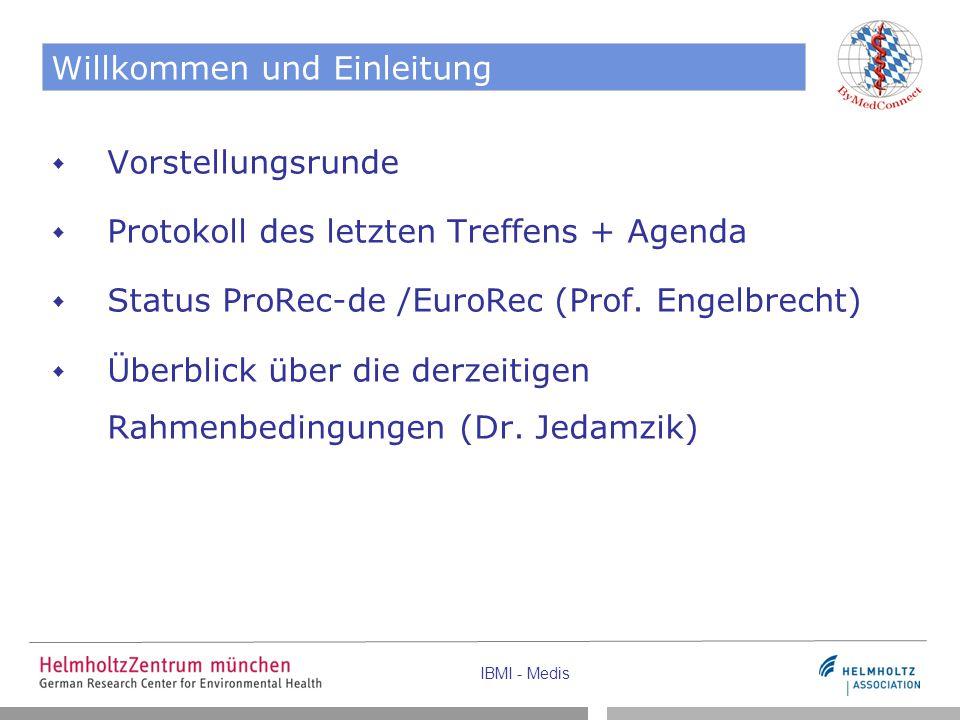 IBMI - Medis Willkommen und Einleitung  Vorstellungsrunde  Protokoll des letzten Treffens + Agenda  Status ProRec-de /EuroRec (Prof. Engelbrecht) 