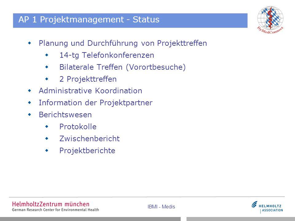 IBMI - Medis AP 1 Projektmanagement - Status  Planung und Durchführung von Projekttreffen  14-tg Telefonkonferenzen  Bilaterale Treffen (Vorortbesu